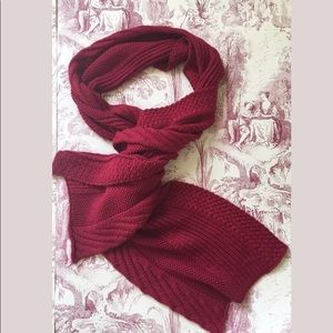 GAP Red chunky knit extra long 80 inch wool scarf